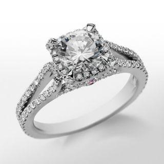 Monique Lhuillier Halo Diamond Engagement Ring in Platinum  Blue