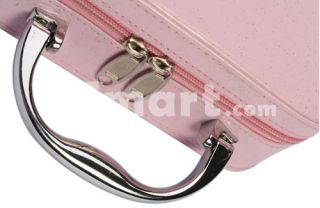 Fashionable PU Leather Mirror Zip Makeup Cosmetic Travel Bag Pink