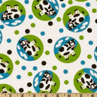 Flannel Cows Cirlces White/Multi   Discount Designer Fabric   Fabric