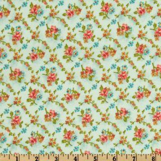 Martine Small Bouquets in Aqua   Discount Designer Fabric   Fabric
