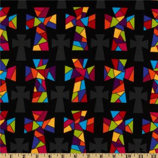 Stained Glass Crosses Black   Discount Designer Fabric   Fabric
