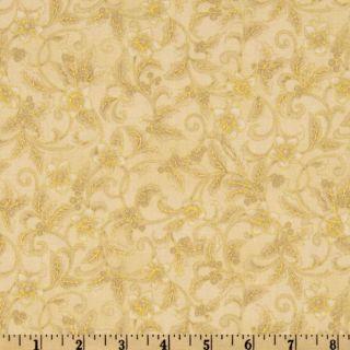Holiday Flourish 5 Vine Flowers Ivory   Discount Designer Fabric