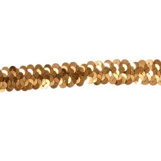 Stretch Sequin Trim Gold   Discount Designer Fabric   Fabric