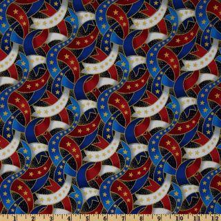 Patriotic Ribbons Red/White/Blue   Discount Designer Fabric   Fabric