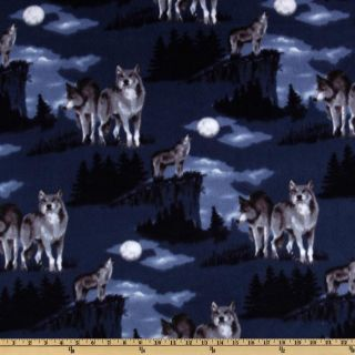 WinterFleece Baying At The Moon Blue   Discount Designer Fabric