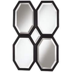 Quatre Octagons 36 High Black Wall Mirror