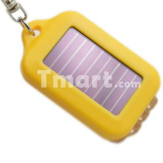 LED Mini Solar Power Flashlight Torch Keychain Yellow   Tmart