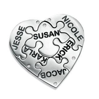 Pieces of Me Heart Puzzle Name Charms in Sterling Silver (1 Names
