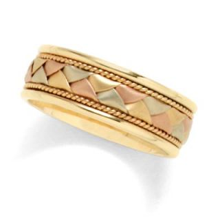 Mens 14K Tri Color Gold Woven Wedding Band   View All Rings   Zales