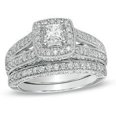 CT. T.W. Princess Cut Diamond Frame Bridal Set in 14K White Gold
