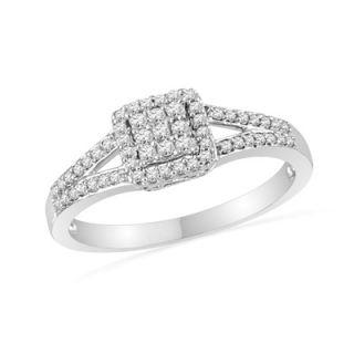 CT. T.W. Diamond Square Frame Split Shank Promise Ring in Sterling