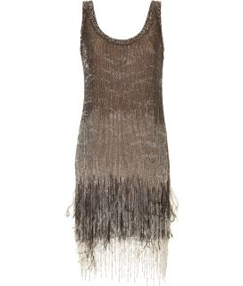 Roberto Cavalli Topaz Beaded Feather Fringed Dress  Damen  Kleider