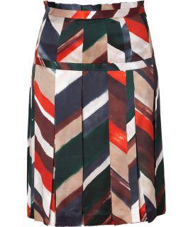 Salvatore Ferragamo Multicolor Pleated Silk Skirt  Damen  Röcke