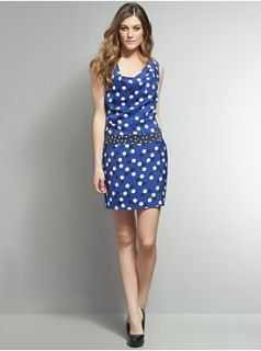 Bold Blue Polka Do Dress   New York & Company