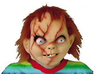 SEED OF CHUCKY DOLL DELUXE LATEX FULL MASK WITH RED HAIR COSTUME DRESS