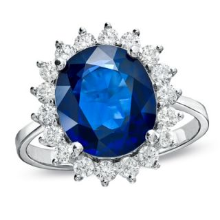 Oval Blue Sapphire and 3/4 CT. T.W. Diamond Frame Ring in 14K White