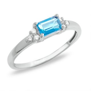 Octagon Blue Topaz Ring in 14K White Gold with Diamond Accents   Rings