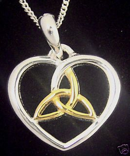 Newly listed 14K White Gold Sterling Silver Pendant Necklace Celtic
