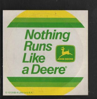 VINTAGE STICKER JOHN DEERE LOGO NOTHING RUNS LIKE A DEERE