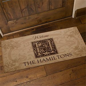 Personalized Door Mat   Family is Forever with Monogram   4489