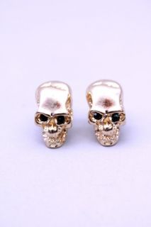 Gold High Polish Metal Skull Stud Earrings @ Amiclubwear Earrings