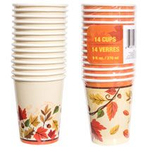 Home Kitchen & Tableware Catering Harvest Leaves Paper Party Cups, 9