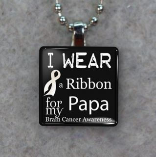 Brain Cancer Awareness Ribbon For Papa Glass Tile Necklace Pendant H43