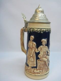RARE MARKINGS Vintage GERZ German Lidded Beer Stein Mug Germany