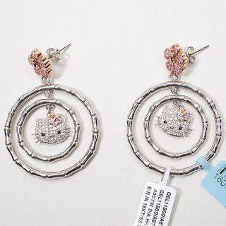 Estate Designer Hello Kitty Simmons 18k Gold Diamond Hoop Earrings
