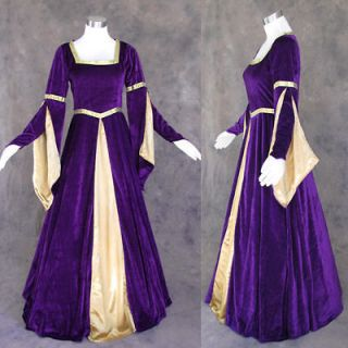 Medieval Renaissance Purple and Gold Gown Dress Costume LOTR Wedding L