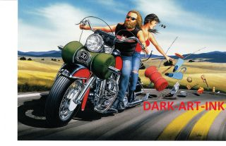 David Mann Art Roadtrip Come Undone Easyriders Print Harley Davidson