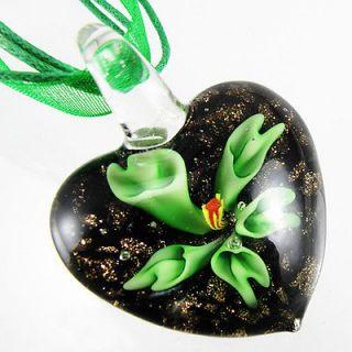 Pretty Lampwork Murano Glass Green Flower Pendant Ribbon Cord Necklace
