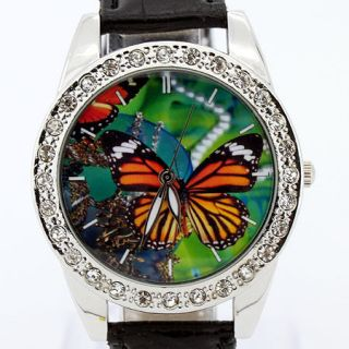 Beautiful Women Lady Colorful butterfly Leather Quartz Girl Wristwatch