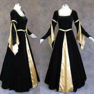 Medieval Renaissance Black Gold Gown Dress Costume Goth Wedding 4X