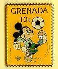DISNEY MICKEY MOUSE GRENADA STAMP PIn 1980S SOCCER