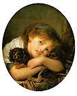 1757 Jean Baptiste Greuze, Girl with Pet DOG, King Charles Spaniel