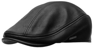 MATTE BLACK Leather IVY cap Gatsby Mens Newsboy hat Golf driving USA