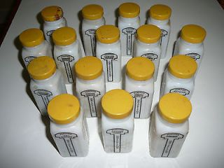 Vintage Set of 16 Griffiths White Milk Glass Spice Jars