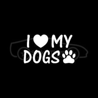 DOGS Sticker Heart Paw Print Vinyl Decal Puppy Pet Animal Breed Cute