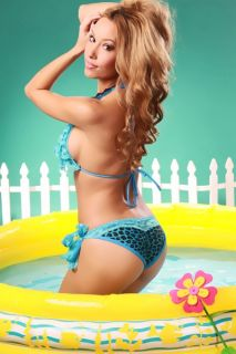 BLUE LEOPARD PRINT RUFFLE TIER LACE TRIM PUCKER BACK BIKINI SWIMSUIT