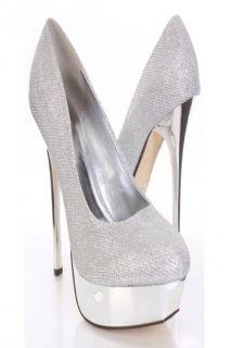 Silver Shimmer Faux Leather Mirror Platform Pump Heels @ Amiclubwear