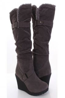 Grey Faux Suede Slouchy Strapped Wool Trim Knee High Wedge Boots