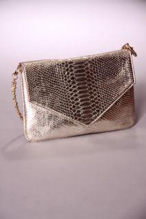 Home / Light Gold Metallic Snake Skin Textured Faux Leather Handbag