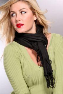 Black Solid Print Fringed Fleece Scarf @ Amiclubwear scarf Online
