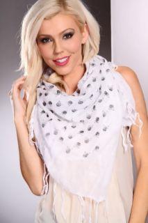 White Fringed Skull Decor Gauze Scarf @ Amiclubwear scarf Online Store