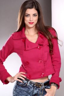 Fuchsia Long Sleeve Button Up Stylish Sweater @ Amiclubwear Clothing
