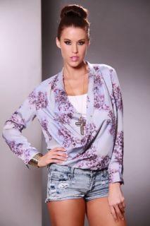 Home / Grey Multi Floral Print Draped Long Sleeve Chiffon Blouse