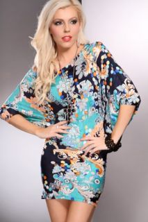 Jade Multi Mixed Print Flutter Sleeves Sexy Dress @ Amiclubwear sexy