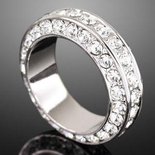E58 White Gold GP Paved Swarovski Crystal Wedding Band Ring