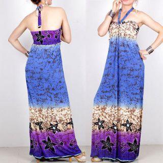 Purple Women summer evening Halterneck BOHO Halter long maxi dress S55